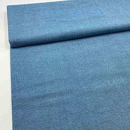 Kt KILOtela Tela de loneta Estampada, Falso Liso - Retal de 100 cm Largo x 280 cm Ancho | Azul ─ 1 Metro