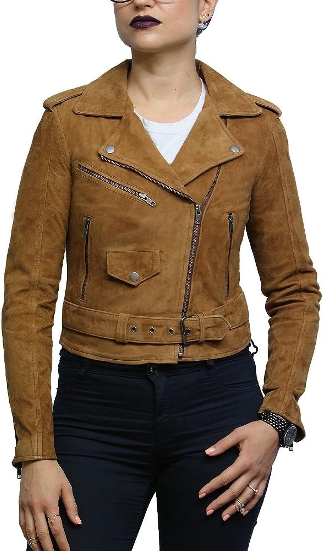Brandslock Womens Genuine Leather Biker Jacket Brando Famous Style