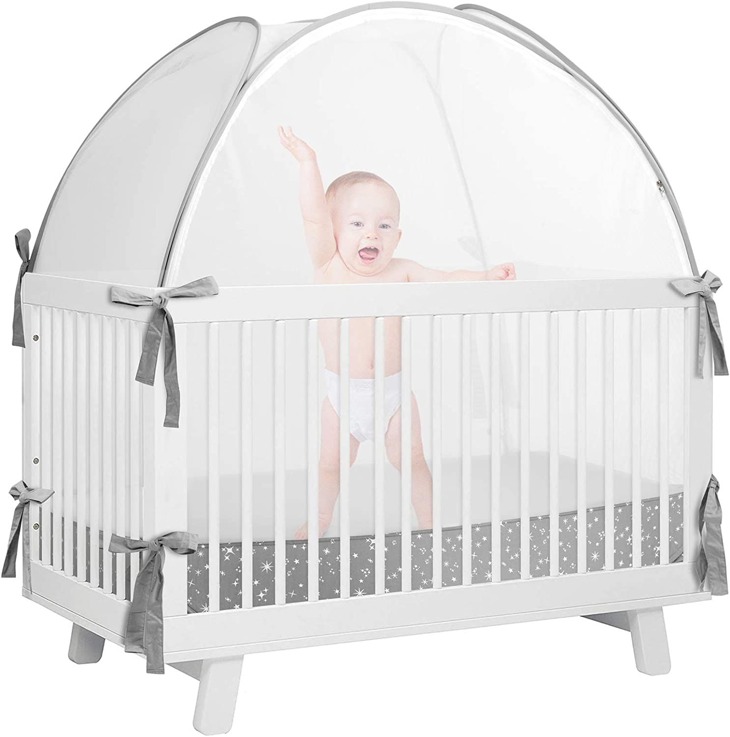 De-LOVELY Crib Pop Up Tent, Crib Tent ,Baby Mesh Cover Net,Crib Tent to Keep Baby from Climbing Out