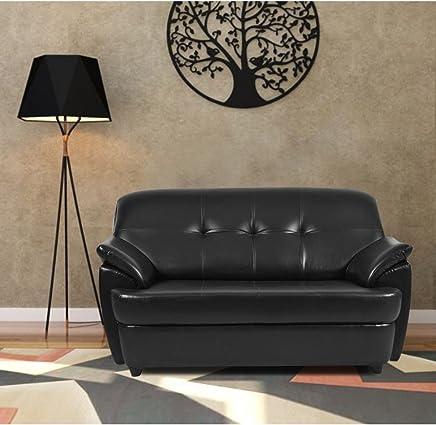 Furny Boston Two Seater Leatherette Sofa (Black)