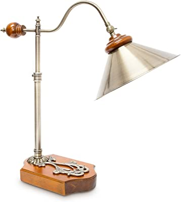 Relaxdays-10018504 Lampe de table de bureau design industriel orientable aspect laiton ancien