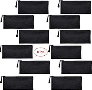 Sailing-go 12 Pieces Black Zipper Waterproof Bag Pencil Pouch for Cosmetic Makeup Bills Office Supplies Travel Accessories...