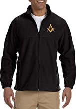 Square & Compass Embroidered Masonic Men's Fleece Full-Zip Jacket