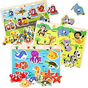 Wooden Peg Puzzles for Toddlers 2 3 4 Years Old, Kids Educational Preeschool Peg Puzzles Toy, 3 Pcs Toddler Puzzles Set - Traffic, Animals and Ocean, Great Gift for Girls and Boys