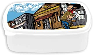 Western Durable Plastic Lunch containers,Cartoon Cowboy Wrangler in an Old West Town Looking Down The Street Wild Adventure Decorative For dining room,7.09