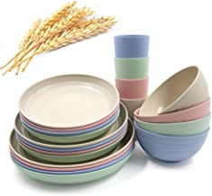 20Pieces Wheat Straw Dinnerware Plate Sets, Lightweight Plates Bowls Cups Set, Unbreakable Tableware Set for Picnic Party ...