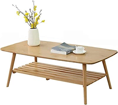 Upgraded Coffee Table, Japanese Double-Layer Square Solid Wood Low Table, Small Apartment Multifunctional Rubber Wood Leisure Table,a,120 * 60 * 4