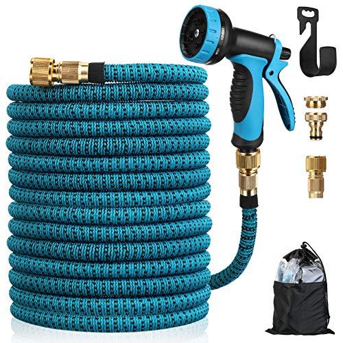 Tvird Flexibler Gartenschlauch 15M Flexschlauch Wasserschlauch Schlauch dehnbar Flexschlauch mit 10 Funktionen Sprühdüse für Gartenbewässerung und Reinigung Anti-Leck,Knickfest Schlauch (15m Blau)