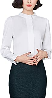 Thx Style Women's Casual Office Bow Tie Neck Long Sleeve Chiffon Blouse Shirts Tops