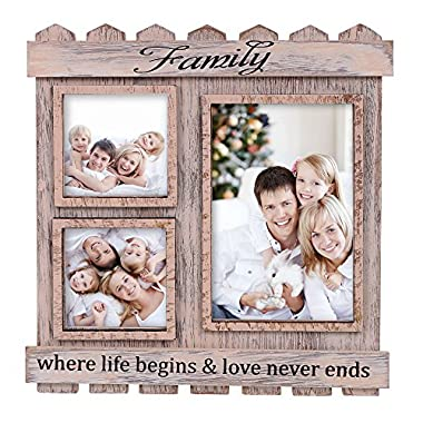 V&M VALERY MADELYN Mothers Day Distressed Wood Rustic Family Picture Frame Collage with 3 Opening 3x3 and 4x6 Different Sizes(Family Collection)