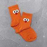 AKDSteel Women Big Eyes Socks Cartoon Tube Socks Female Tide Socks Orange One