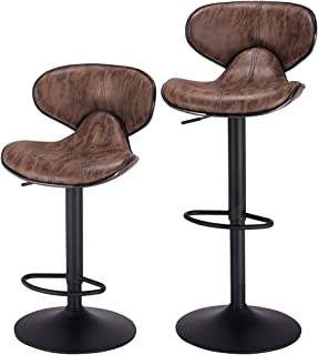 PRAISUN Bar Stools, Set of 2, Swivel Counter Chairs with Back, Height Adjustable Barstool for Kitchen, Vintage Fabric, Larger Base 16.34 Inch, Brown