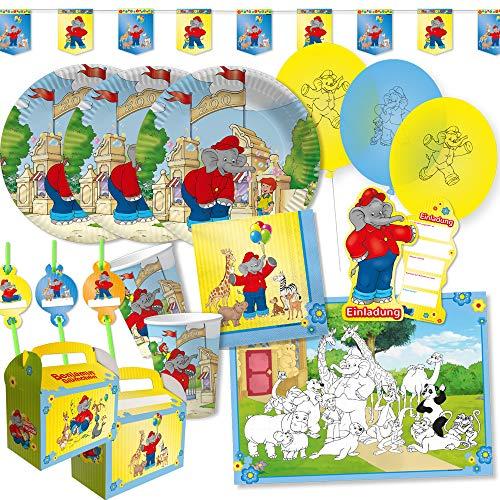DH-Konzept 69-teiliges Party-Set - Elefant Benjamin Blümchen - Teller Becher Servietten Platzsets Einladungen Girlande Trinkhalme Geschenkebox für 6 - 8 Kinder