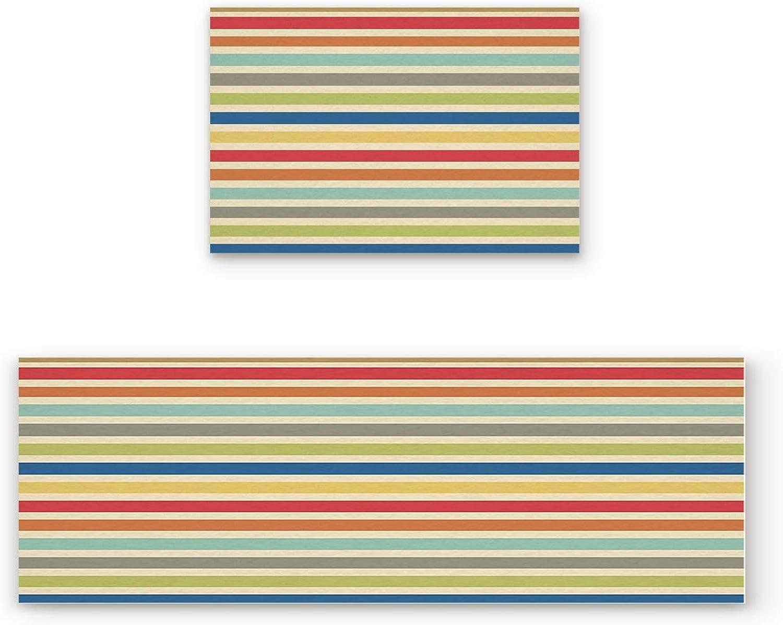 Libaoge Non-Skid Slip Rubber Backing Kitchen Mat Runner Area Rug Doormat Set, Stripe Doormats, colorful Stripes Carpet Indoor Floor Mats Door 2 Packs, 19.7 x31.5 +19.7 x63