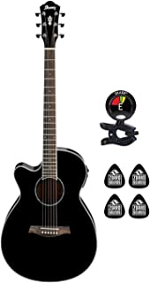 Ibanez AEG10LII-BK Left Handed 6 String Left Handed Acoustic Electric Guitar with Spruce Top and AEQ-SP1 Preamp Guitar Package with Clip on Guitar Tuner and 4 Zorro Guitar Picks