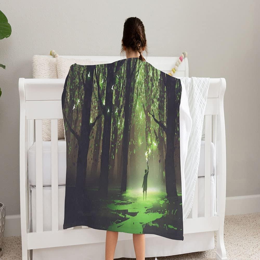 GANTEE Fantasy Scene Alone Man Torch Direct store Super Sof Blanket Standing Genuine