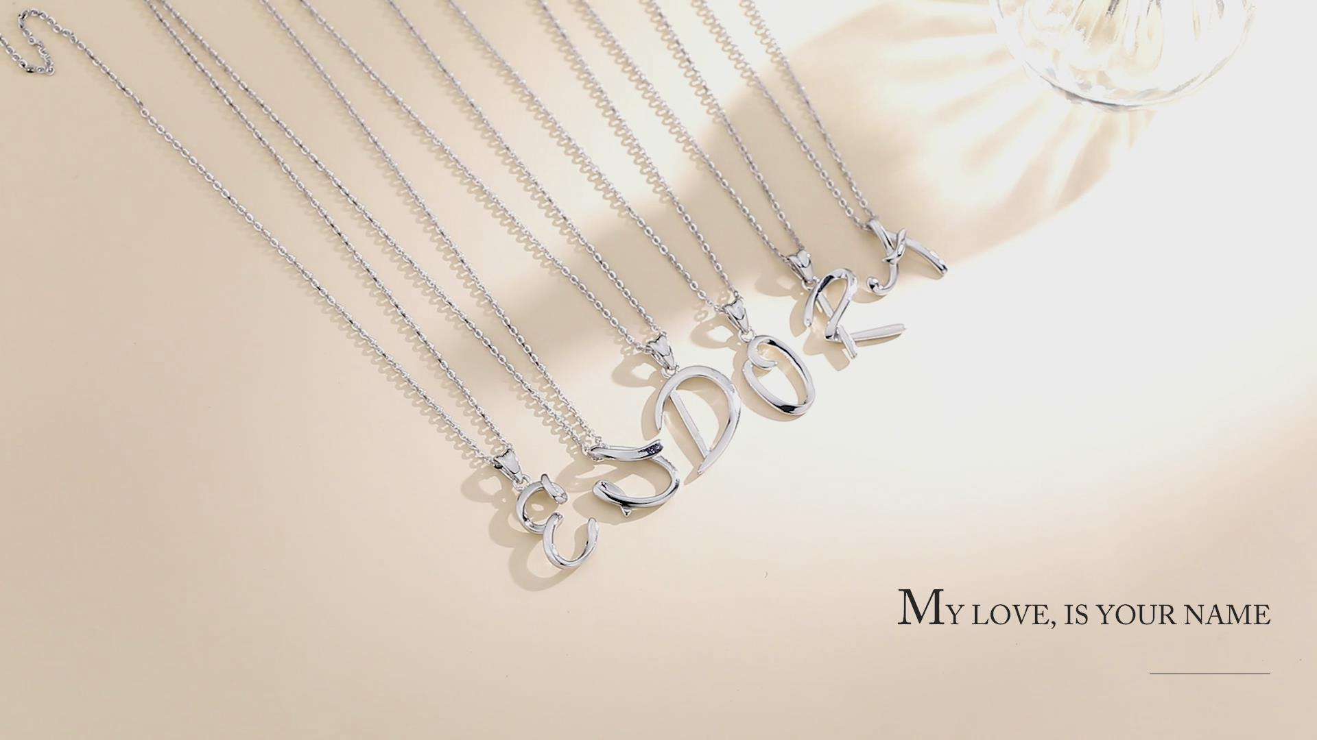 EUDORA Sterling Silver Necklace 26 Letters Alphabet Personalized Charm Pendant with 18inch O-Ring Chain