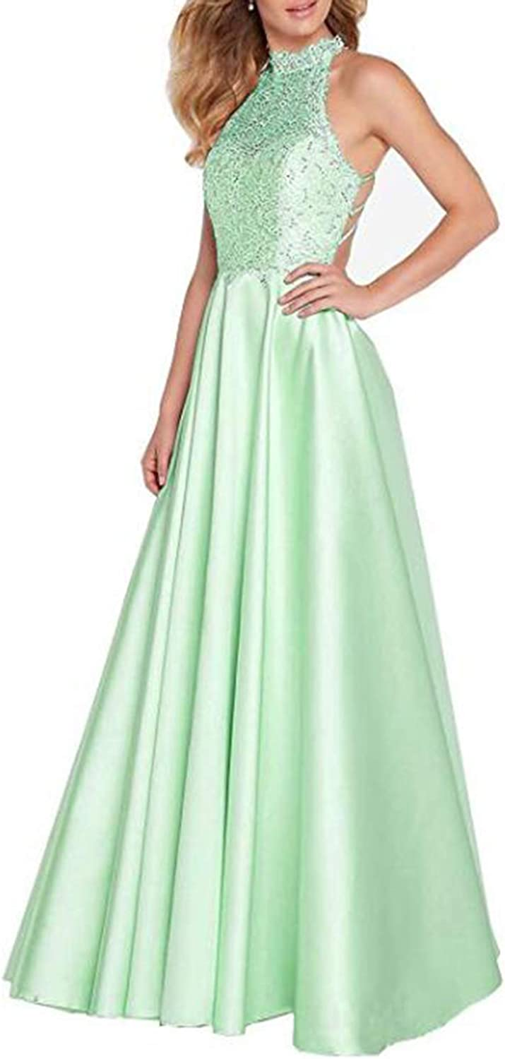 Alilith.Z Sexy Halter Satin Prom Dresses Backless Lace Party Gowns Long Formal Dresses for Women Evening