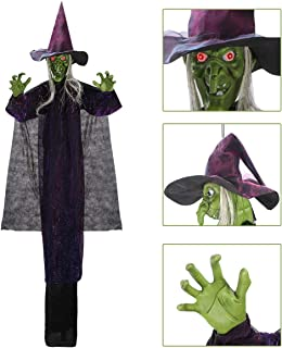 Hanging Animated Witch with LED Eyes and Spooky Sounds for Halloween Indoor Outdoor Decorations