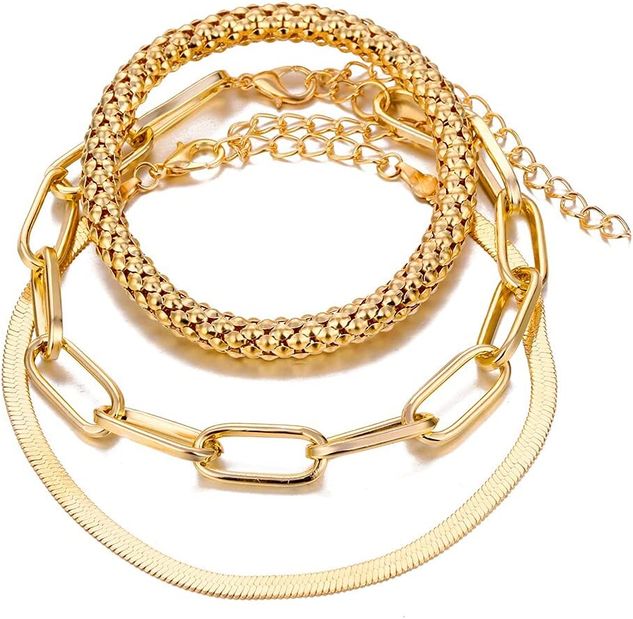 Kejing 3Pcs Sale Set Punk Geometric Bracelet Chain Women's Fashionable Retro