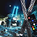2pc 5ft Spiral LED Whip Lights w/Flag [21 Modes] [20 Colors] [Wireless Remote] [Weatherproof] Lighted Antenna Whips - Accessories for ATV Polaris RZR 4 Wheeler