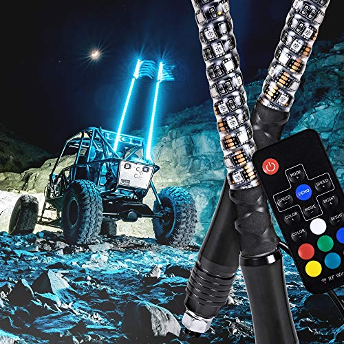 2pc 3ft Spiral LED Whip Lights w/Flag [21 Modes] [20 Colors] [Wireless Remote] [Weatherproof] Lighted Antenna Whips - Accessories for ATV Polaris RZR 4 Wheeler