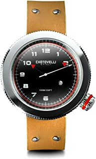 Chotovelli Men's Racing Watch -Gauge Alfa Dial, Sapphire Crystal, Genuine Leather | 50mm