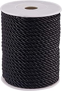 PH PandaHall 5mm/ 18 Yards Twisted Cord Rope Nylon Twisted Cord Trim Thread String for Home Décor, Upholstery, Curtain Tieback, Honor Cord (Black)