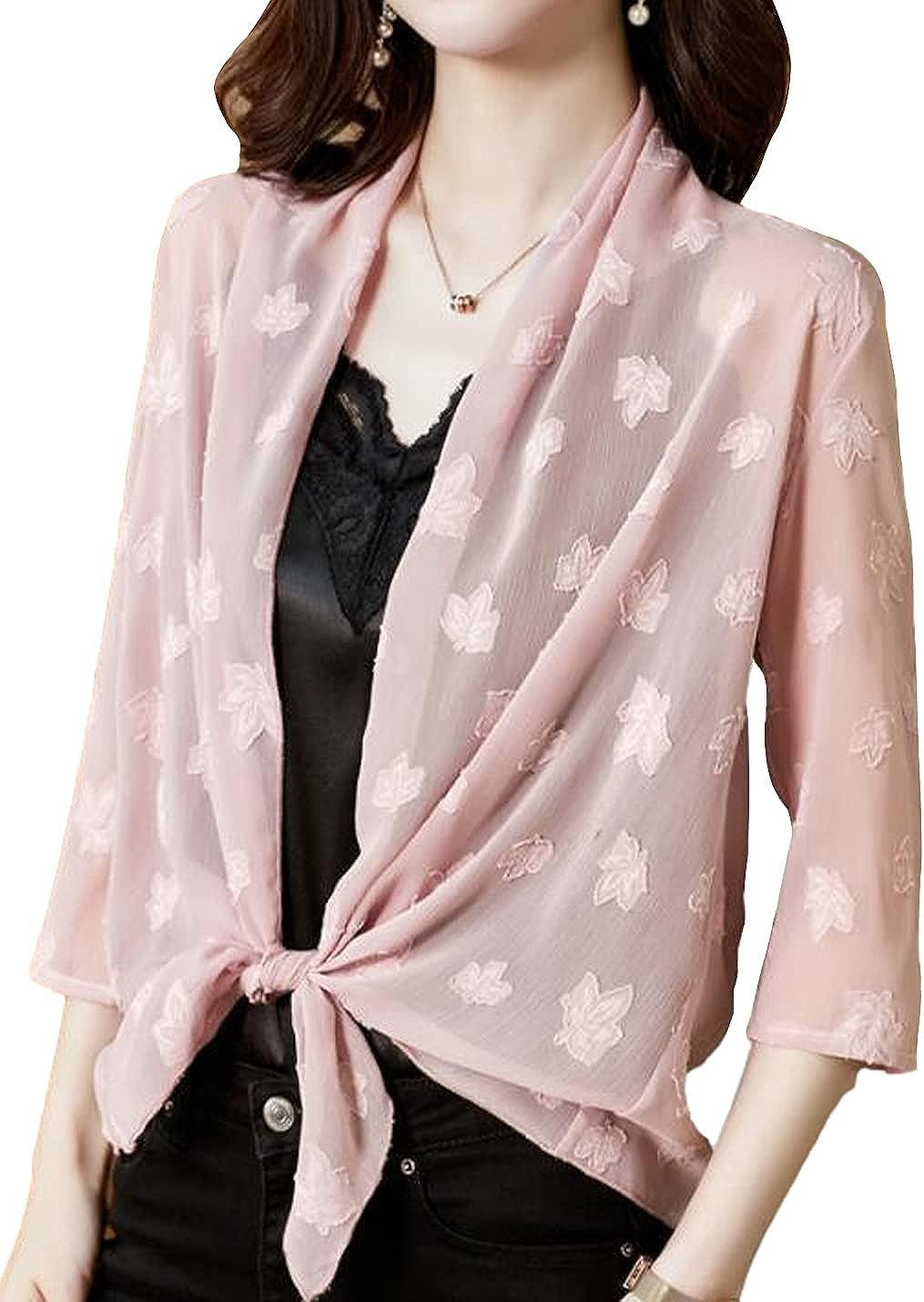 Xishiloft Women's Casual Chiffon Jacquard Shawl Jacket 3/4 Sleeve Waist Belt Shrug Cardigan