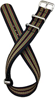 18mm NATO Style, Black/Red/Green Nylon Fabric Watch Band   Vintage, Heavy Duty Replacement Wrist Strap That Brings New Life to Any Watch for Men and Women - Black/Red/Green