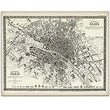 Paris France Map 1844-11x14 Unframed Art Print - Great Vintage Home Decor Under $15