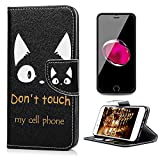 iPhone8 ケース iPhone7 ケース 4.7インチ 用対応ケース おしゃれ YOKIRIN® 手帳型 横開き PUレザー カード収納 スタンド機能 アイフォン7/ アイフォン8 ケース 携帯スマホカバー 耐衝撃 保護 黒地 可愛い猫