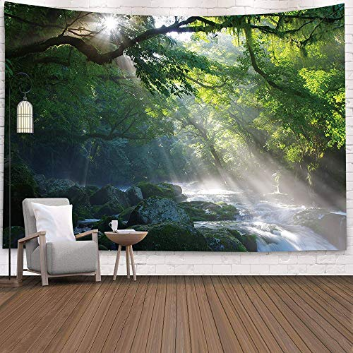 WERT Tapiz de Pared Grande con diseño Hermoso de Bosque Natural, Tapiz de Pared Bohemio, Tapiz de Pared con Mandala, Tapiz de Pared A6 150x200cm