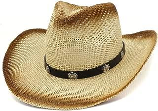 JAUROUXIYUJI New New Straw Western Cowboy Hat Top Hat Outdoor Beach Sun Hat Metal Rivet Sun Visor Fedora Hat (Color : 1, Size : 56-58)
