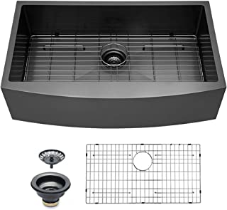 Logmey 30 Inch Black Luxury Farmhouse Apron Deep Single Bowl 16 Gauge Stainless Steel Kitchen Sink