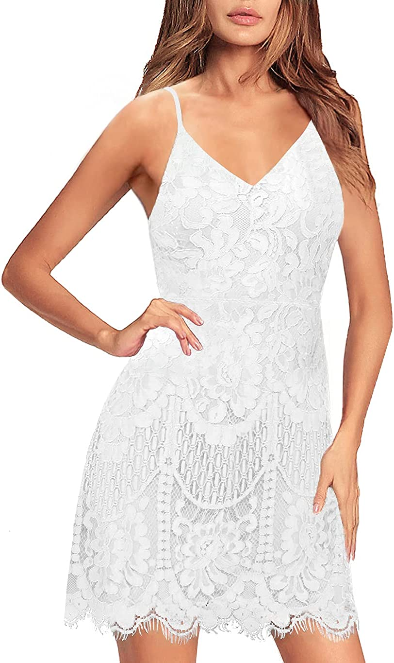 MSLG Women's Cocktail Dresses Club Floral Lace Spaghetti Straps Sexy V Neck Back Wedding Guest Dress 909