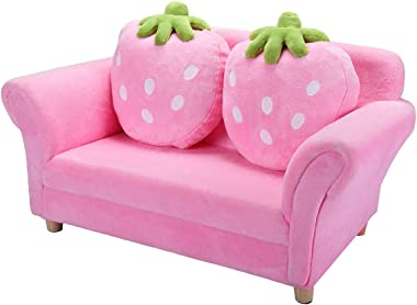JAXSUNNY Children's Couch with 2 Lovely Pillows, Solid Wood Toddler Lounger, Coral Cotton Fleece Surface, Pink
