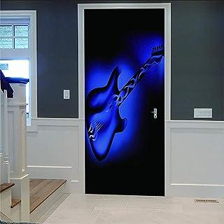 LOVEJJ Stickers de Porte 3D Guitare Déco Murale Qualité HD PVC Douche Bureau Salon Décoration Couloir Peinture Murale DéCo...