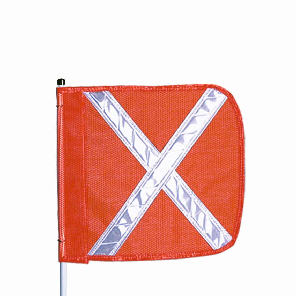 Threaded Hex Base Pack of 1 7-1//4 Overall Width 11-1//2 Overall Length Flagstaff FSRR7 Safety Flag Orange with Orange Whip