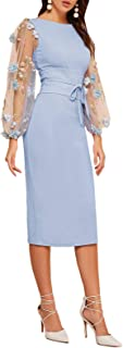 Women's Elegant Mesh Contrast Bishop Sleeve Tie Front Bodycon Pencil Dress