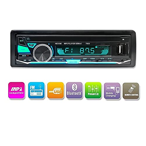 LuckyDIY Autoradio Bluetooth Lecteur multimédia numérique Autoradio Single DIN Lecteur MP3 USB/SD/TF/FM/Récepteur Audio Mains Libres avec télécommande sans Fil + 7 Couleurs Lumineuses réglables