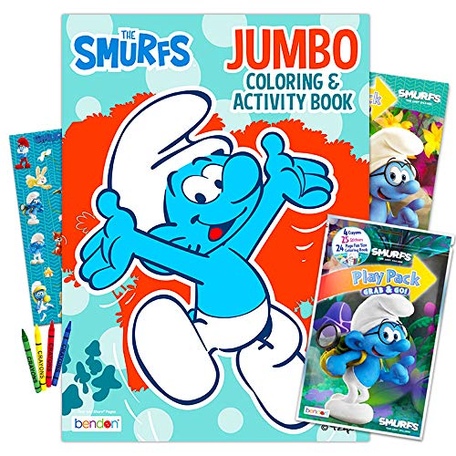 Smurfs Coloring Book Set -- 2 Books, Over 50 Stickers, Crayons and More (Party Supplies)