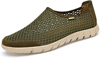Ping.Feng Shoes Athletic Shoes For Men Fashion Casual Sports Shoes Slip On Style Mesh And Stitching Hollow Gym Sneakers (Color : Army green, Size : 48 EU)