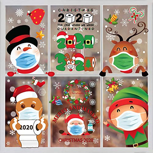 Christmas Window Clings-8Sheet Christmas Window Sticker Christmas Window Decorations Quarantine Christmas Decorations Decals Stickers Home School Office Quarantine Party Supplies Double Printed