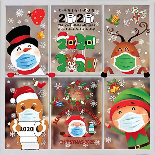 Christmas Window Clings-8Sheet Christmas Window Sticker Christmas Window Decorations Quarantine Christmas Decorations Decals Stickers Home School Office Quarantine Party Supplies Double Printed