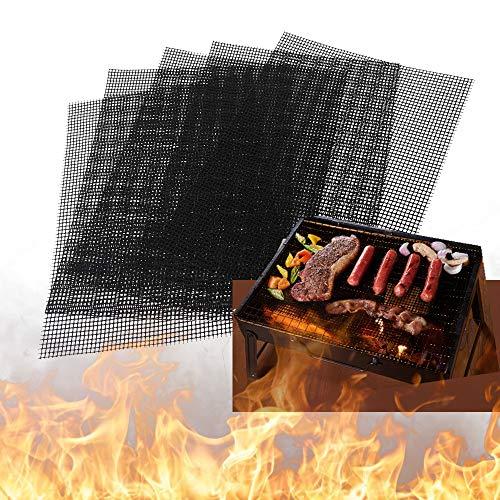 Amlope Esterilla para barbacoa, 4 unidades, antiadherente, rectangular, malla de teflón reutilizable para carbón vegetal, parrilla de gas y horno