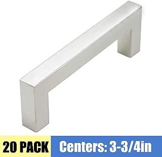 20 Pack 3-3/4inch Hole Centers Kitchen Cabinet Pulls Brushed Nickel Drawer Handles - Brushed Stainless Steel Square Bar Pulls Kitchen Hardware Sliver Cabinet Handles for Bathroom