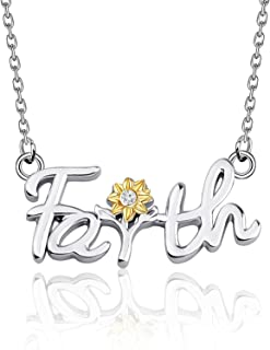BAUNA Faith Inspirational Sun Flower Necklace Yellow Flower Jewelry for Women Girls Religious Faith Gift