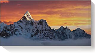 Canvas Print Wall Art for Living Room The Summit of Mount Everest Under Sunset Wall Art Pictures for Home Decor Stretched and Framed Ready to Hang 16