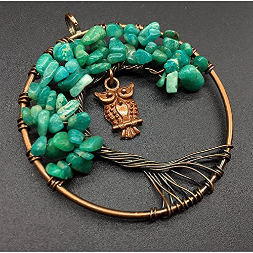 Collana in pietra fai-da-te con ciondolo a forma di gufo Diversa forma di chip Albero della vita-amazzonite